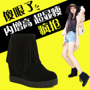 Tassel short boots women's thick-soled platform plus size leather head tidal shoes increased slope with bare boots snow winter boots