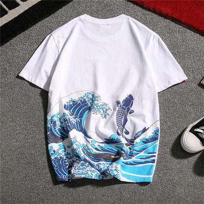 3日系潮牌中国风鲤鱼波浪民族复古刺青大码体恤短袖T恤T06-P35