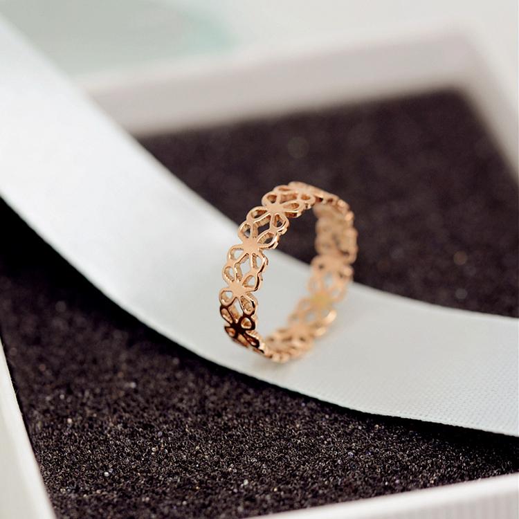 韩版时尚钛钢镀18K玫瑰金镂空花朵戒指尾戒女食指指环韩国J058