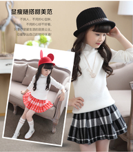 Cuhk female children's wear knitted render unlined upper garment of new fund of 2015 autumn winters is short skirt suit pure color sweater skirts two-piece outfit