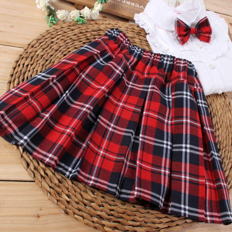 童装新款韩版中大童女童格子半身裙