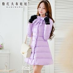 Long down jackets girls pink winter 2015 Han Fan and put the dolls side padded flaps down jacket