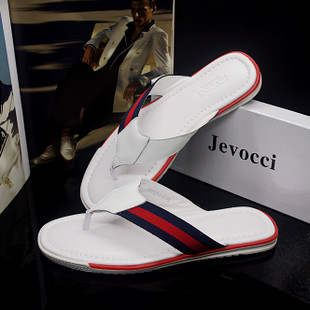 JEVOCCI Where the odd authentic British style fashionable cowhide leather flip flops men s outdoor drag