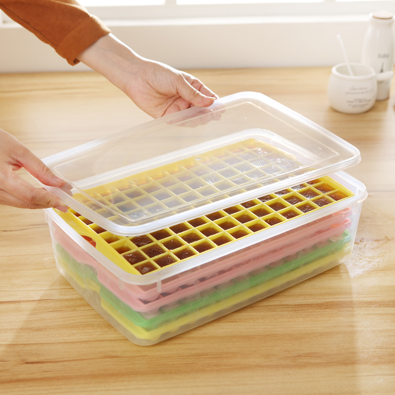 包邮冰箱冻冰模制大冰块模具格盒96格冰格带盖密封塑料钻石保鲜盒