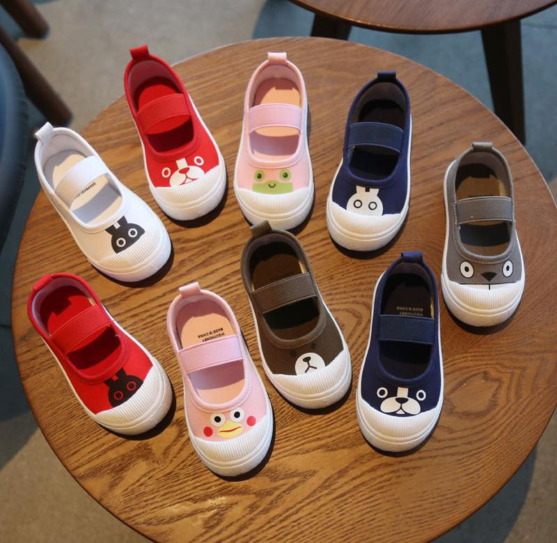 ? Hanni bear spring and autumn new childrens shoes baby single shoes childrens canvas shoes girls casual shoes boys Board Shoes