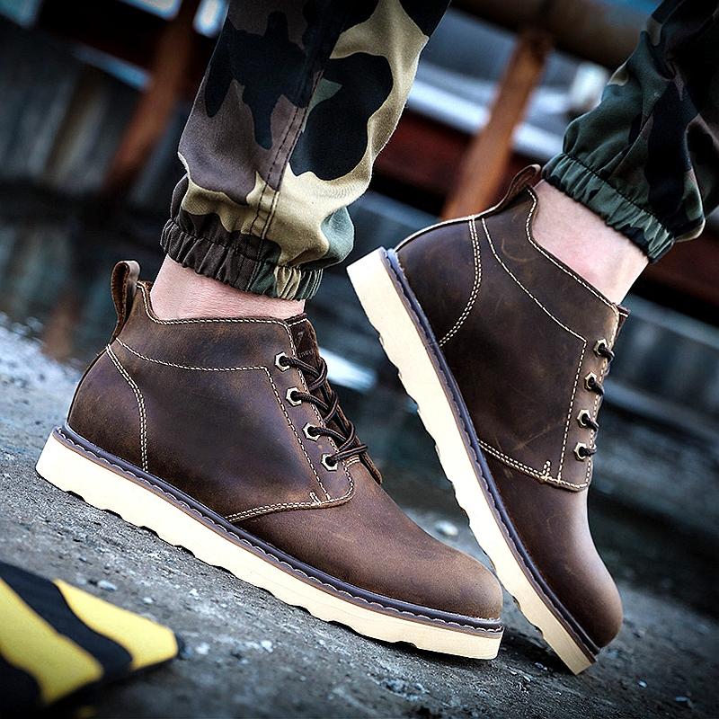 秋冬の本革ブーツ、マーティンブーツ、男性用ブーツ、カップル用ブーツ、ブーツ、ハイヒール、カジュアル靴、ブーツのブーム
