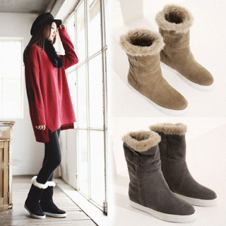 2015 winter snow boots leather women's boots boots boots warm cotton-padded shoes winter women flat shoes leisure shoes and wool