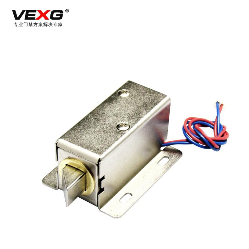 vexg斜口电控锁橱柜门抽屉电子锁通电开锁型DC12V电柜门锁