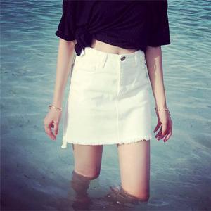流苏毛边短裙 女前短后长不规则水洗拉须白色牛仔包臀半身裙6919