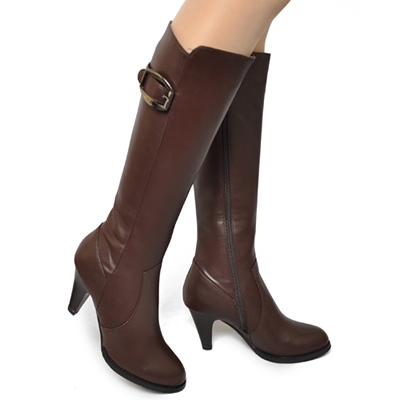 Autumn and winter new Korean Cavalier boots middle heel thick side zipper middle tube boots belt buckle warm women boots package