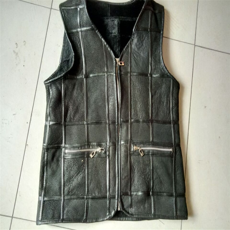 Every day special price sheep shearing fur one man autumn and winter leather vest warm Plaid vest cotton shoulder coat