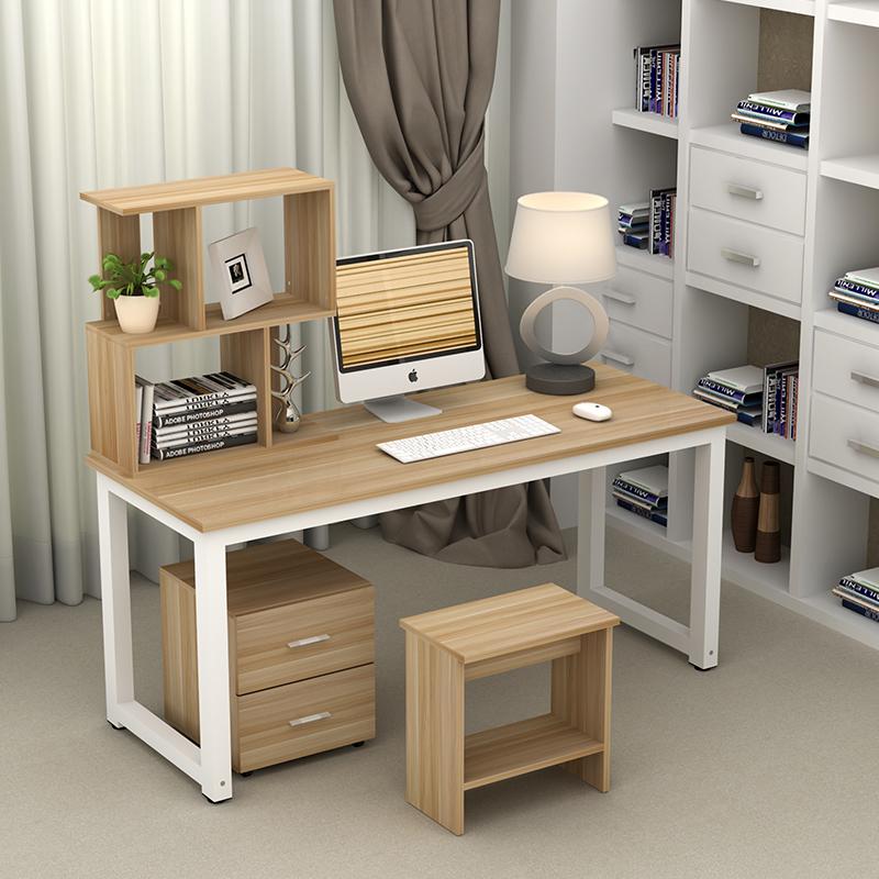 書桌書架 簡約鋼木電腦桌置物架辦公桌筆記本台式桌