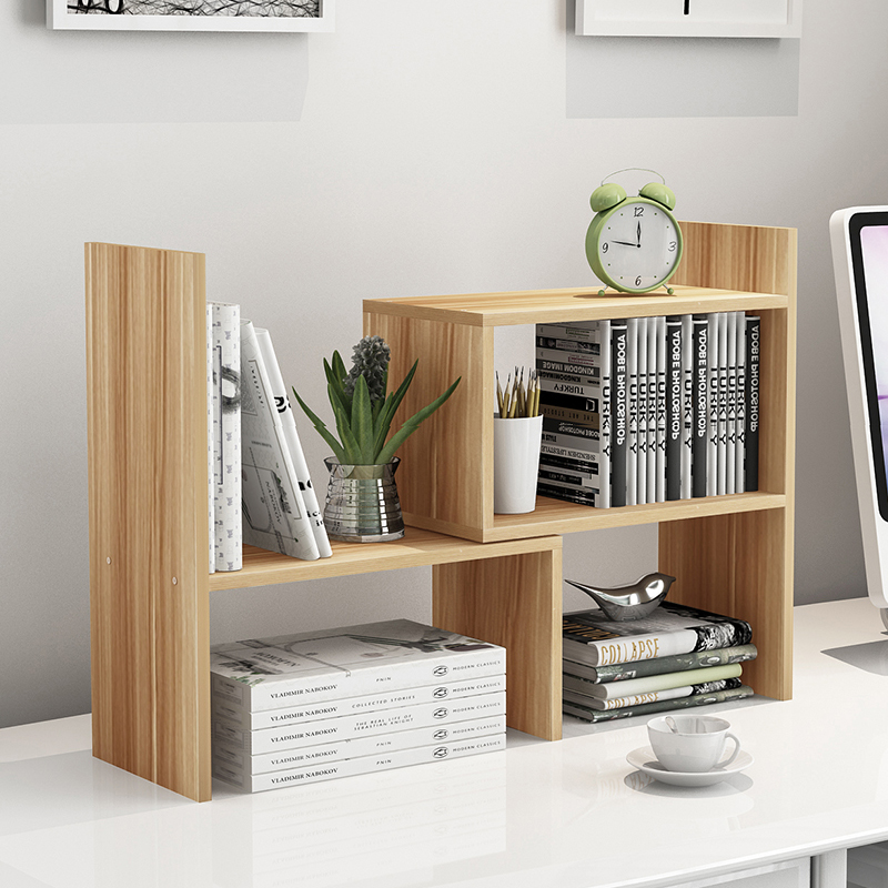 雅美樂 電腦桌上書架小型辦公收納架伸縮桌麵書櫃置物架