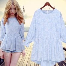 201 new women's early autumn fashionable Europe seven round collar sleeves loose irregular shadow big yards dress