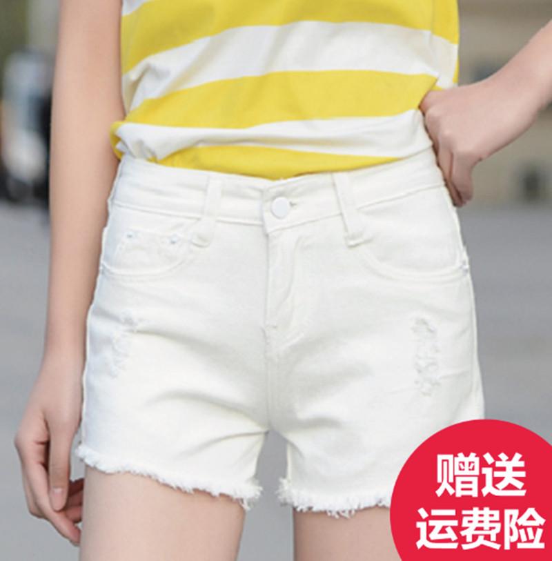 牛仔短褲女夏高腰磨破洞毛邊寬鬆大碼女裝胖mm顯瘦學生熱褲子女潮