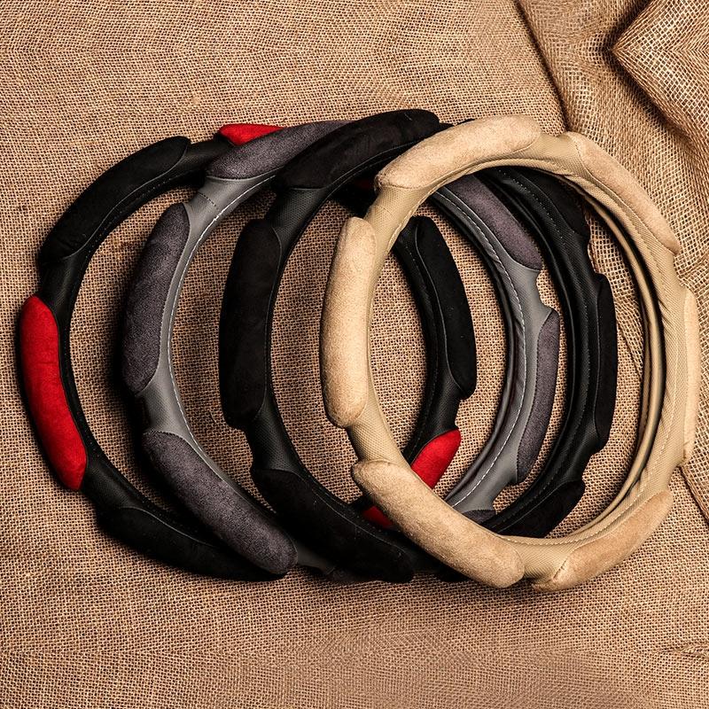 3D立体汽车方向盘套冬季保暖麂皮短毛绒防滑透气四季通用型把套