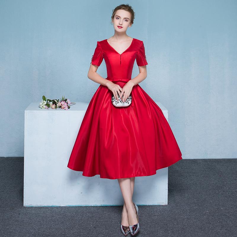 敬酒服新娘2018新款夏季红色结婚订婚晚礼服宴会中长款修身连衣裙