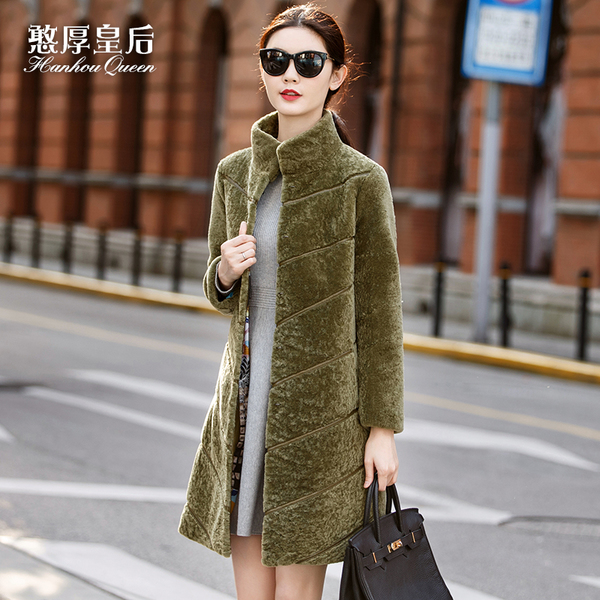 Simple and honest Queen Sheepskin coat winter long section 2016 new Haining female sheep shearing fur coat A9
