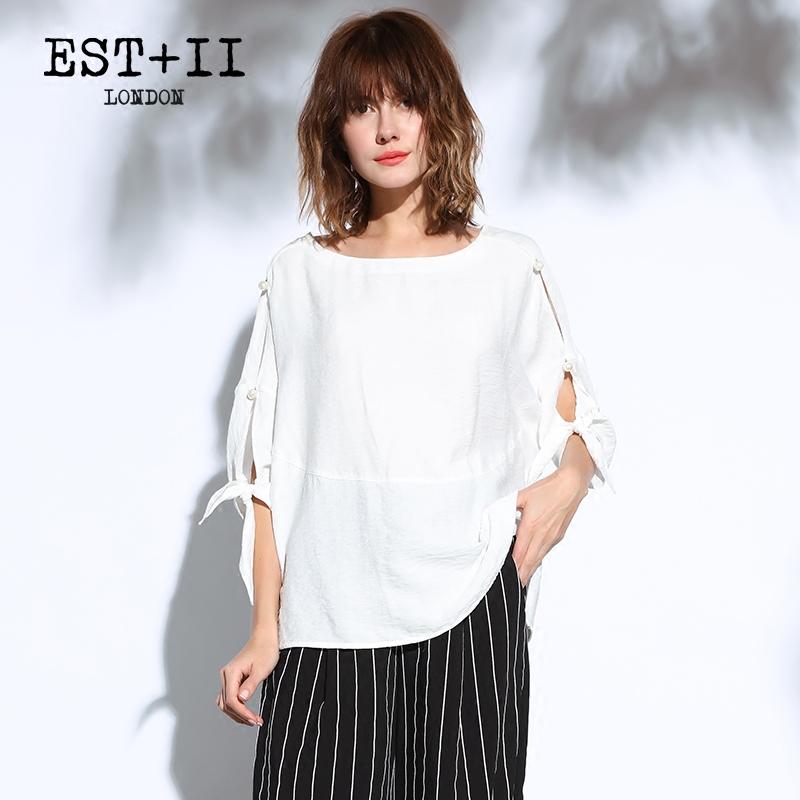 EST+II/艺诗2018春夏新品五分袖纯色T恤女简约休闲蝙蝠衫上衣