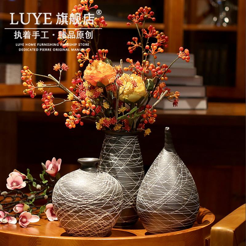 景德鎮陶瓷擺件工藝品幹花花瓶 落地黑色花瓶 家居裝飾擺件插花瓶