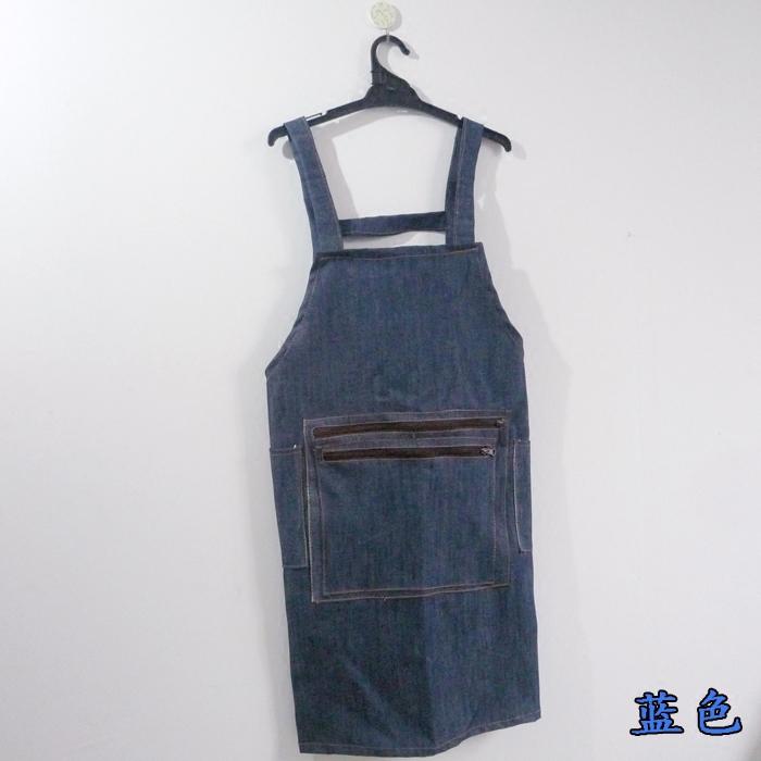 韓国版の厚いデニムの防油の袖のファスナーの大きいポケットの労働保護の仕事のエプロンの野菜市場の商品は注文を受けて注文します。