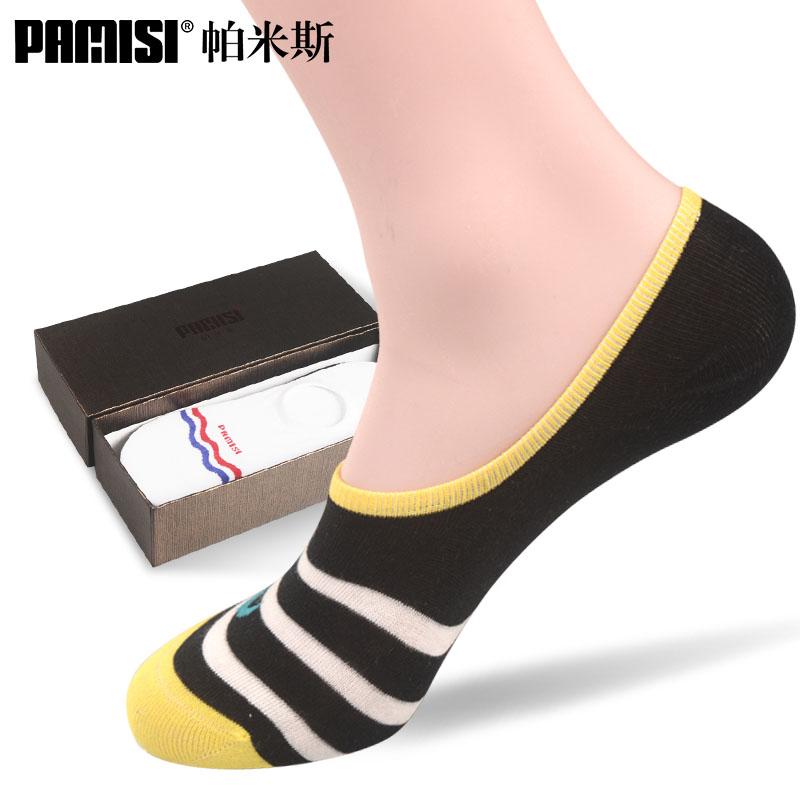 帕米斯防臭船袜男四季薄隐形浅口防脱棉袜条纹短袜薄款男士袜子
