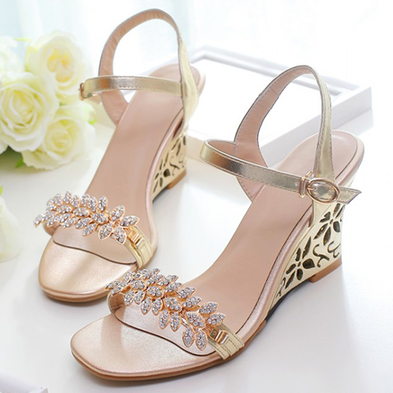 Summer high heel wedge-shaped sandals large size 40-43 hollow diamond womens shoes fish mouth gold wedge heel
