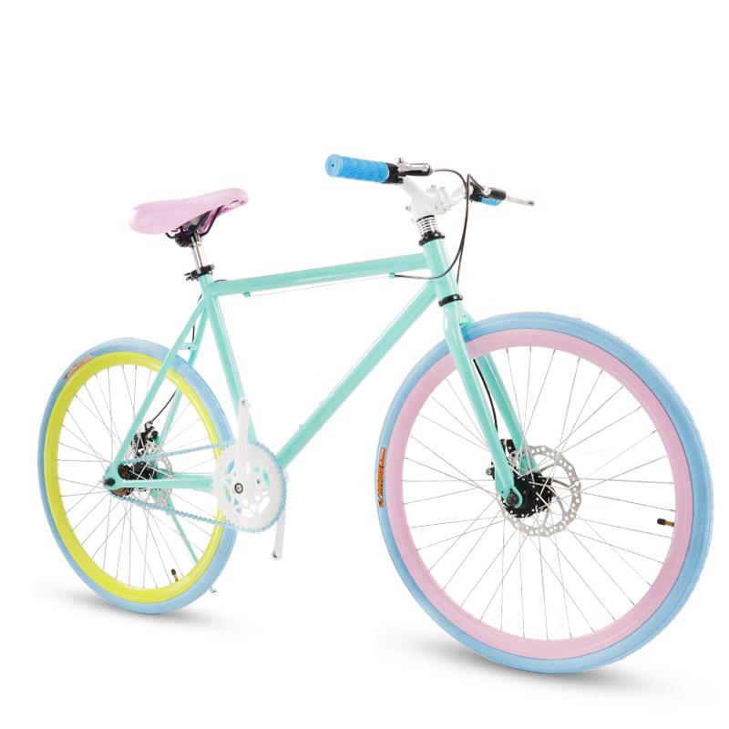 多米雷特 死飞单速公路自行车学生男女款24/26寸双碟刹单车