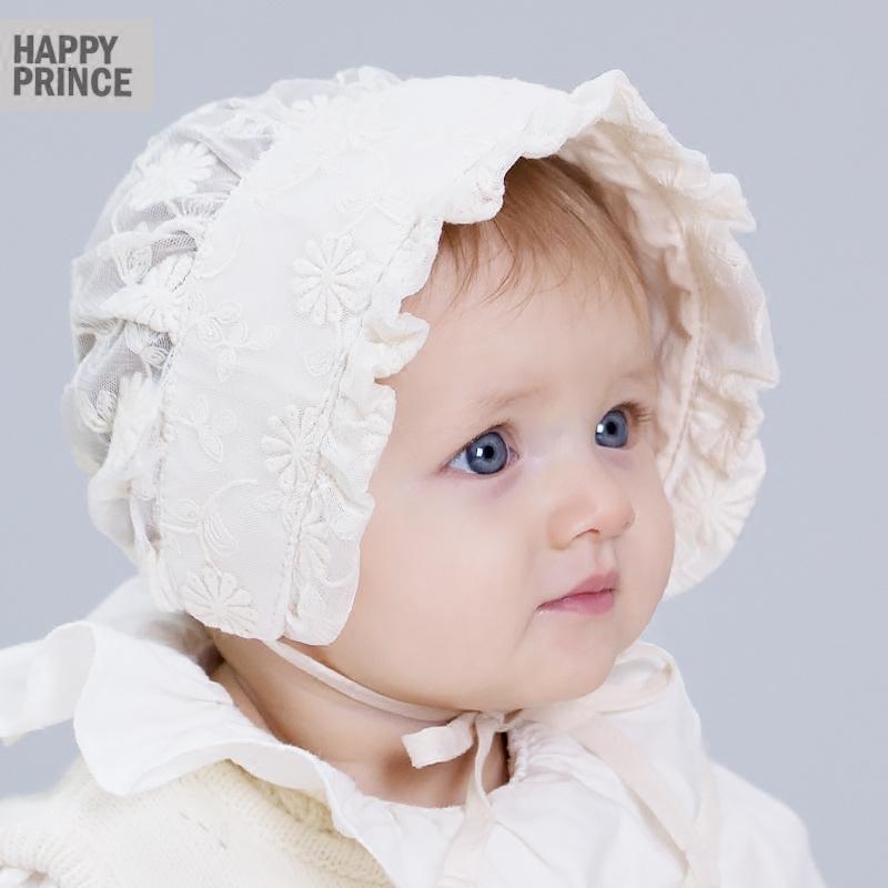 韩版新生婴儿可爱小公主蕾丝透气遮阳胎帽系带帽女童宝宝帽子春夏