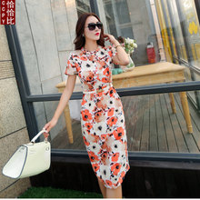 Autumn in the summer of 2015 the new printing bag hip OL floral shirt collar lady one pace cultivate one's morality in the long dress