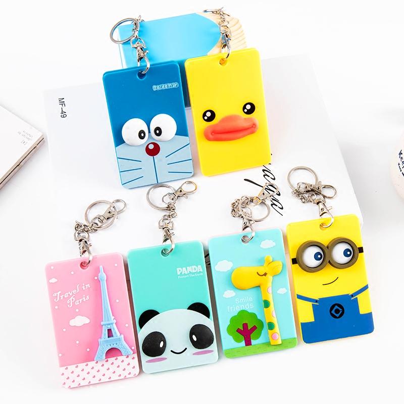 韩国可爱卡通立体门禁卡套送钥匙扣公交卡包胸牌工作证学生证件套