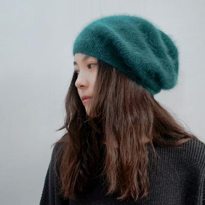定制韩国帽子女冬天长毛貂绒针织毛线帽时尚保暖帽护耳帽韩版