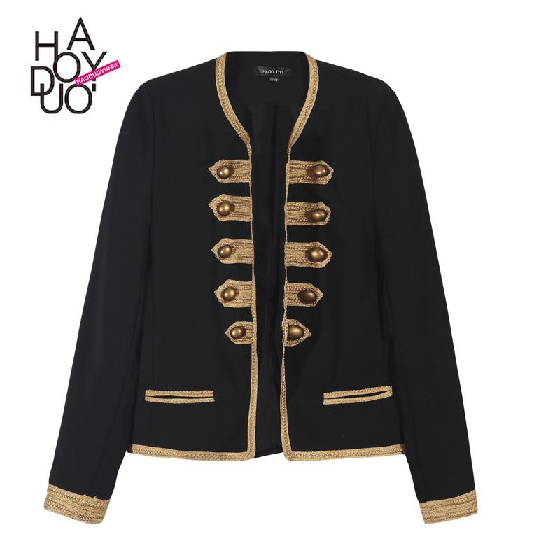 Haoduoyi2016 весной новый ретро Королевский стиль двубортные куртки Джокер тонкий пиджак женщин