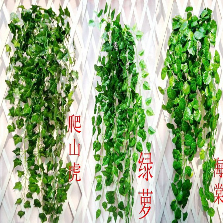 Simulated Ivy strips, ivy leaves, flowers and plants, vines, wall hanging horticultural pipes, decorating green plants and flowers ceiling