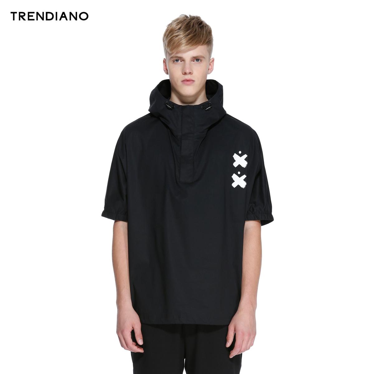 TRENDIANO新2016男裝夏裝潮棉質寬鬆套頭連帽短袖襯衫3HC2015180