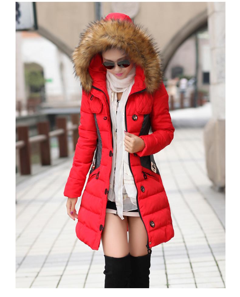 2018女装冬款棉衣两色拼接中长款修身显瘦羽绒棉服 冬装外套 潮