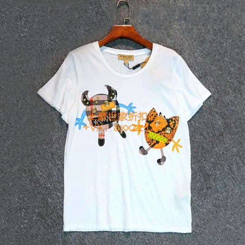国内现货BURBERRY女装短袖卡通动物图案贴布钉珠棉质男女同款T恤