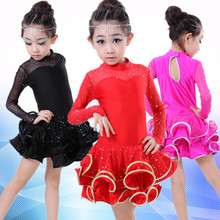 The new package mail children's Latin dance uniforms Latin dance skirt of the girls The spring and autumn period and the long sleeve children's Latin dance costumes