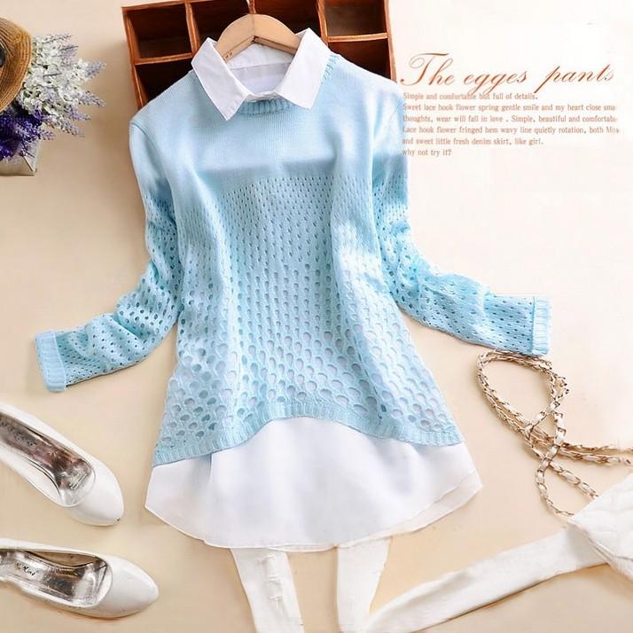 Корейский весна лето свитер блузка воротник свитер корейской версии полые рукав шифона двухсекционный