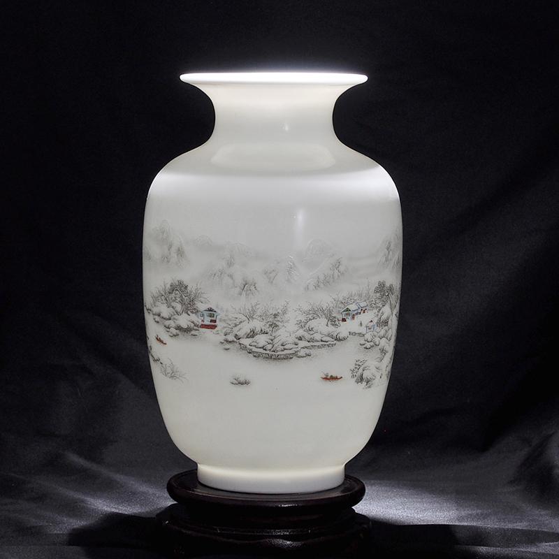 白色花瓶景德鎮陶瓷器 插花器家居飾品擺件 客廳餐廳裝飾工藝品