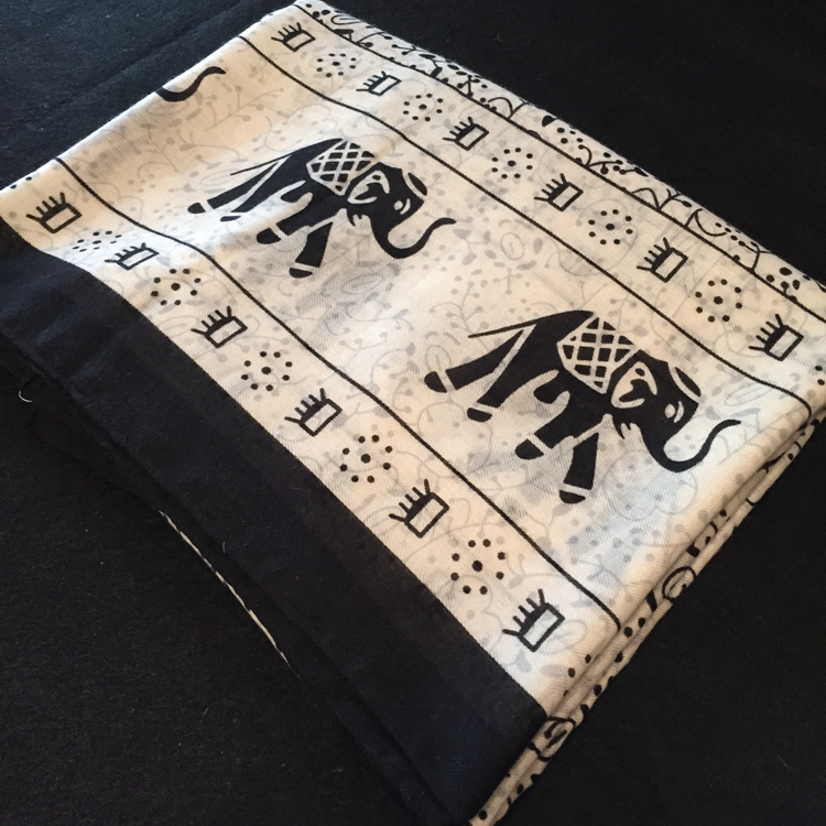 包邮许晴同款围巾黑白大象图案欧美时尚简约棉麻披肩丝巾外贸原单