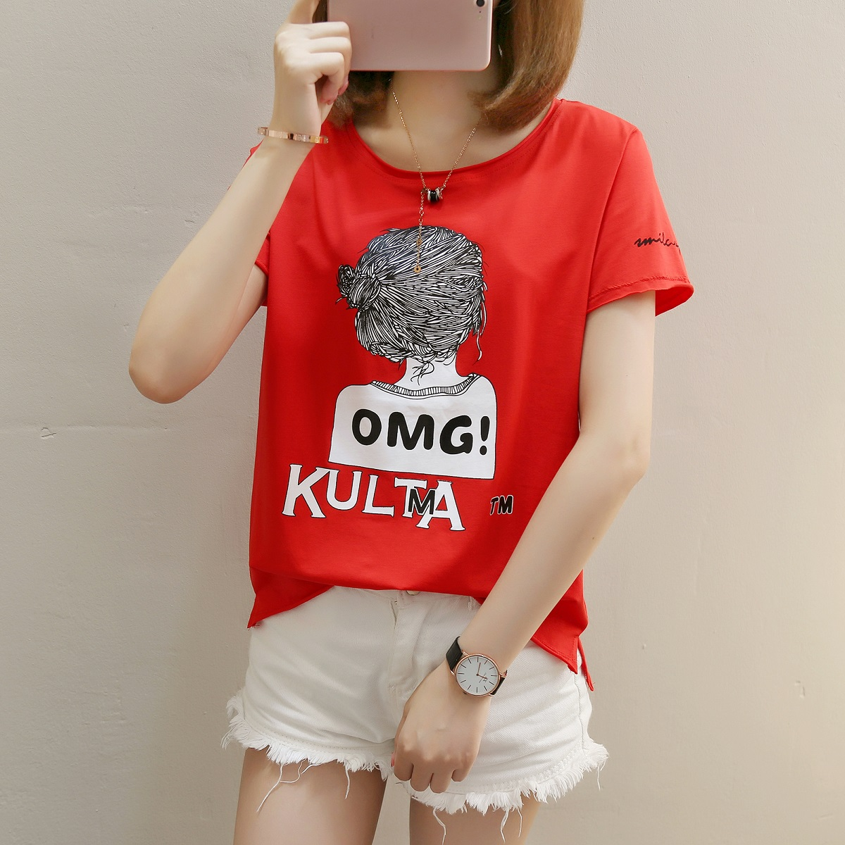 夏装女装韩版少女可爱卡通印花宽松短袖T恤港风上衣学生中袖体恤