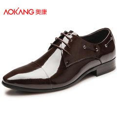 Aucom men's tide of England man gentleman pointed mirror paint leather shoes business attire the first layer of leather shoes
