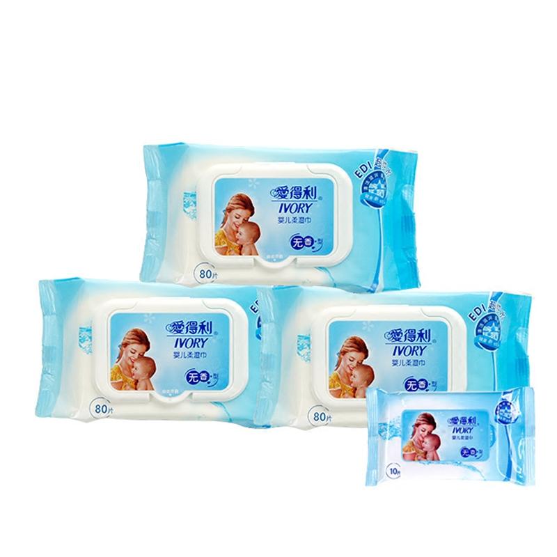愛得利嬰兒柔濕巾帶蓋新生兒手口無香pp寶寶 棉柔濕紙巾80抽片