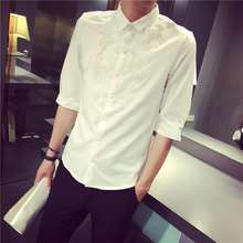 Autumn new chest lace pattern of cultivate one's morality shirt British male or male wave sleeve white shirt