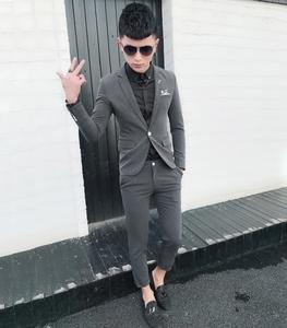 不二先生潮流男装 贴身单扣西装套装发型师小码紧身男西服二件套