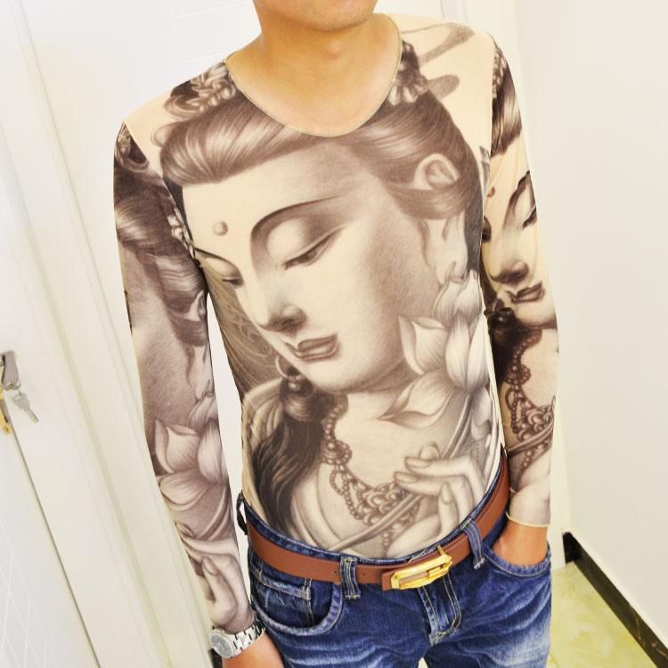 个性3D印花纹身上衣春装潮牌男长袖T恤快手红人同款 修身刺青衣服