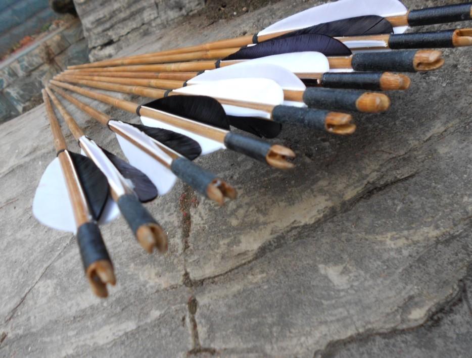 传统竹箭茶杆竹箭火鸡真羽传统弓箭用箭射艺竞技用   满12支包邮