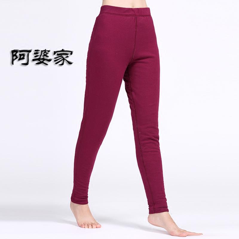 阿婆家新款女士100%桑蚕丝棉裤冬装真丝内胆中老年保暖裤直筒型