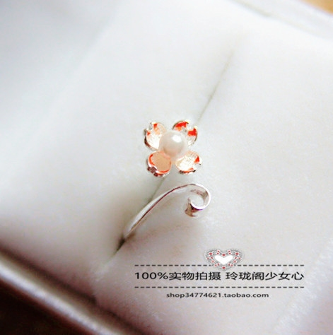 925 silver cherry petal pearl opening adjustable stretch ring Mori fresh female Valentines Day gift student